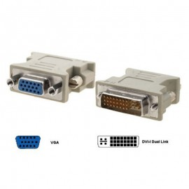 Adaptateur DVI-I Mâle vers VGA Femelle DB-15 Ecran PC et MAC Beige
