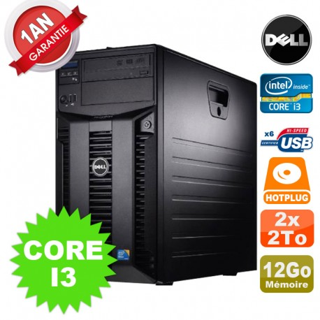 Serveur DELL PowerEdge T310 Intel Core I3-550 3.20GHz 12Go Ram Ecc 2x 2To SATA