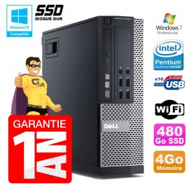 PC Dell 7010 SFF Intel G840 RAM 4Go Disque Dur 480Go SSD DVD Wifi W7
