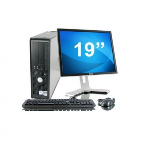 Lot PC DELL Optiplex 755 SFF Intel Celeron 430 1.8Ghz 2Go 2To Win XP + Ecran 19""