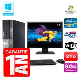 PC Dell 7010 SFF Intel I3-2120 RAM 8Go Disque 2To DVD Wifi W7 Ecran 19""