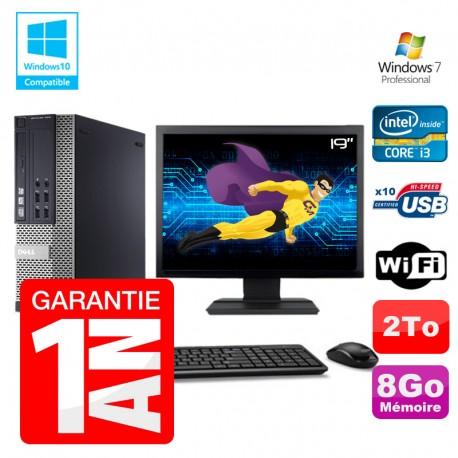 """PC Dell 7010 SFF Intel I3-2120 RAM 8Go Disque 2To DVD Wifi W7 Ecran 19"""""""