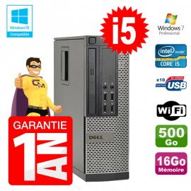 PC Dell 7010 SFF Intel I5-3470 RAM 16Go Disque 500Go DVD Wifi W7
