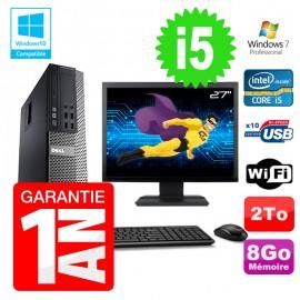 """PC Dell 7010 SFF Intel I5-2400 RAM 8Go Disque 2To DVD Wifi W7 Ecran 27"""""""