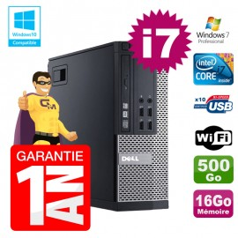PC Dell 7010 SFF Intel I7-2600 RAM 16Go Disque 500Go DVD Wifi W7