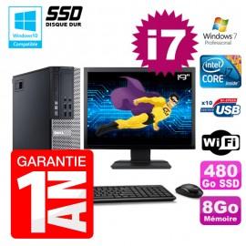"""PC Dell 7010 SFF Intel I7-2600 RAM 8Go Disque 480Go SSD DVD Wifi W7 Ecran 19"""""""