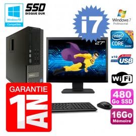 """PC Dell 7010 SFF Intel I7-3770 RAM 16Go Disque 480Go SSD DVD Wifi W7 Ecran 27"""""""