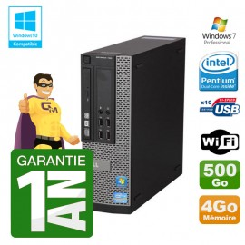 PC Dell 790 SFF Intel G640 RAM 4Go Disque Dur 500Go DVD Wifi W7