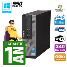 PC Dell 790 SFF Intel G640 RAM 4Go Disque Dur 240Go SSD DVD Wifi W7