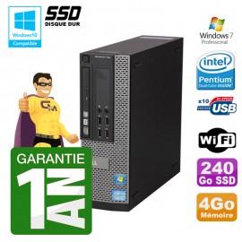 PC Dell 790 SFF Intel G640 RAM 4Go Disque Dur 240Go SSD DVD Wifi W7