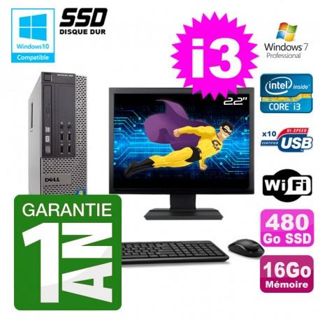 """PC Dell 790 SFF Intel I3-2120 RAM 16Go Disque 480Go SSD DVD Wifi W7 Ecran 22"""""""