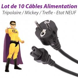 Lot 10 Câbles Alimentation Secteur PC Mac Portable Mickey Tripolaire Trefle NEUF