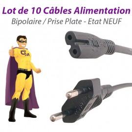 Lot 10 Câbles Alimentation Secteur PC Mac Portable Bipolaire Prise Plate NEUF