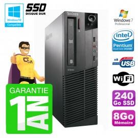 PC Lenovo M91p 7005 SFF Intel G630 8Go Disque 240Go SSD Graveur Wifi W7