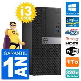 PC Tour Dell OptiPlex 7040 Core i3-6100 RAM 32Go Disque 1To HDMI Windows 10 Wifi