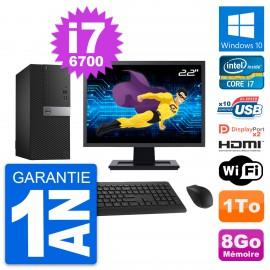 """PC Tour Dell 7040 Ecran 22"""" Core i7-6700 RAM 8Go Disque 1To HDMI Windows 10 Wifi"""