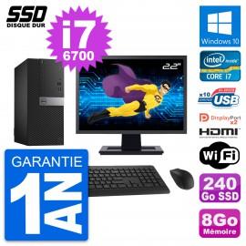 """PC Tour Dell 7040 Ecran 22"""" Intel i7-6700 RAM 8Go SSD 240Go HDMI Windows 10 Wifi"""