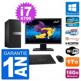 """PC Tour Dell 7040 Ecran 22"""" i7-6700 RAM 16Go Disque 1To HDMI Windows 10 Wifi"""