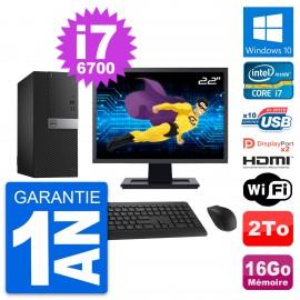 """PC Tour Dell 7040 Ecran 22"""" i7-6700 RAM 16Go Disque 2To HDMI Windows 10 Wifi"""
