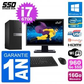 """PC Tour Dell 7040 Ecran 22"""" Core i7-6700 RAM 16Go SSD 960Go HDMI Windows 10 Wifi"""