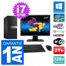 """PC Tour Dell 7040 Ecran 22"""" i7-6700 RAM 32Go Disque 2To HDMI Windows 10 Wifi"""