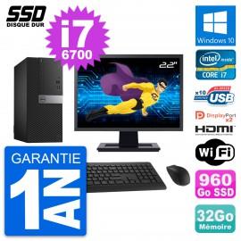 """PC Tour Dell 7040 Ecran 22"""" Core i7-6700 RAM 32Go SSD 960Go HDMI Windows 10 Wifi"""