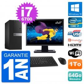 """PC Tour Dell 7040 Ecran 22"""" i7-6700 RAM 64Go Disque 1To HDMI Windows 10 Wifi"""