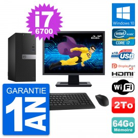 """PC Tour Dell 7040 Ecran 22"""" i7-6700 RAM 64Go Disque 2To HDMI Windows 10 Wifi"""