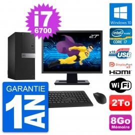 """PC Tour Dell 7040 Ecran 27"""" Core i7-6700 RAM 8Go Disque 2To HDMI Windows 10 Wifi"""