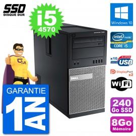 PC Tour Dell 7020 Intel Core i5-4570 RAM 8Go SSD 240Go Windows 10 Wifi