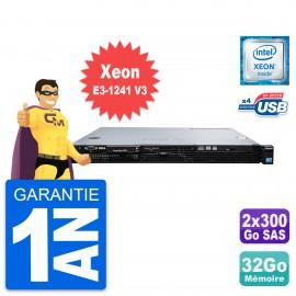 Serveur Rackable Dell PowerEdge R220 Xeon E3-1241 V3 32Go 2x300Go SAS Perc H310