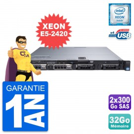Serveur Rackable Dell PowerEdge R320 Xeon E5-2420V2 16Go 2x900Go SAS Perc H710