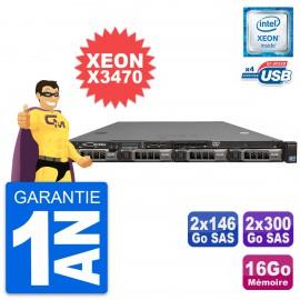 Serveur Rackable Dell PowerEdge R310 Xeon X3470 16Go 2x146Go SAS + 2x300Go SAS