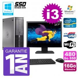 """PC HP 8200 SFF Intel I3-2120 16Go Disque 480Go SSD Graveur Wifi W7 Ecran 27"""""""