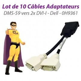 Lot x10 Câbles doubleurs DMS-59 vers 2x DVI-I Dell 0H9361 H9361 Dual Screen NEUF