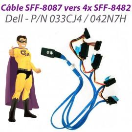 Câble Nappe SFF-8087 4x SFF-8482 DELL SAS SATA 033CJ4 042N7H Carte RAID UCS-71