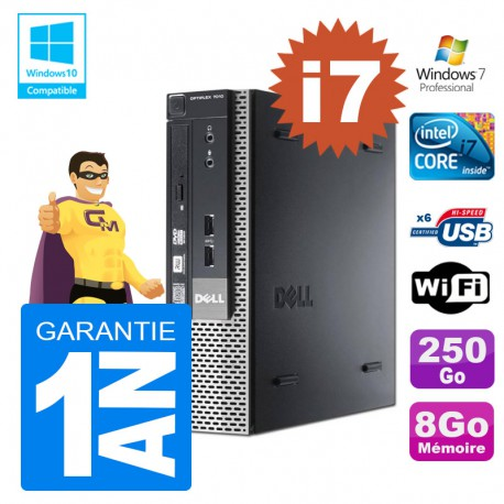 Mini PC Dell 7010 Ultra USFF Core I7-3770 8Go Disque 250Go Wifi W7