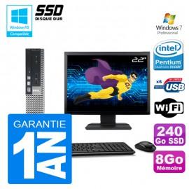 """Mini PC Dell 7010 Ultra USFF G640 RAM 8Go Disque 240Go SSD Wifi W7 Ecran 22"""""""
