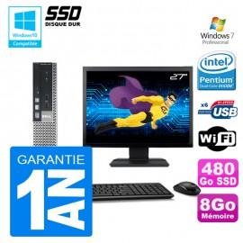 """Mini PC Dell 7010 Ultra USFF G640 RAM 8Go Disque 480Go SSD Wifi W7 Ecran 27"""""""