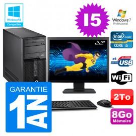 """PC Tour Fujitsu Esprimo P400 I5-2400 RAM 8Go Disque 2To Wifi W7 Ecran 22"""""""