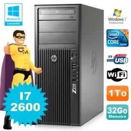 HP WorkStation Z210 Tour Core I7-2600 3.4Ghz 32Go Disque 1To Graveur W7 Wifi