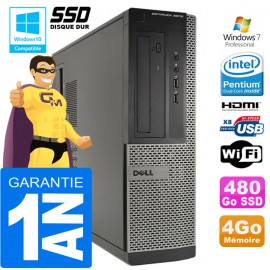 PC DELL 3010 DT Intel G2020 Ram 4Go Disque 480 Go SSD Wifi W7