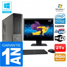 PC DELL 3010 DT Intel G2020 Ram 4Go Disque 2 To Wifi W7 Ecran 19""