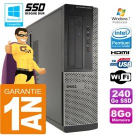 PC DELL 3010 DT Intel G2020 Ram 8Go Disque 240 Go SSD Wifi W7