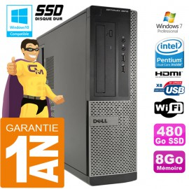 PC DELL 3010 DT Intel G2020 Ram 8Go Disque 480 Go SSD Wifi W7