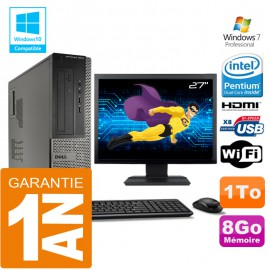 PC DELL 3010 DT Intel G2020 Ram 8Go Disque 1 To Wifi W7 Ecran 27""