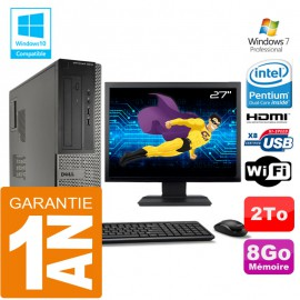 PC DELL 3010 DT Intel G2020 Ram 8Go Disque 2 To Wifi W7 Ecran 27""