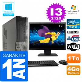 PC DELL 3010 DT Core I3-2120 Ram 4Go Disque 1 To Wifi W7 Ecran 19""