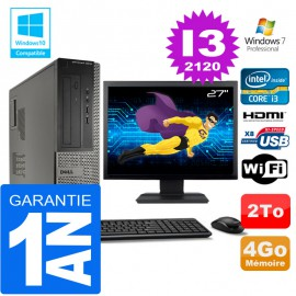 PC DELL 3010 DT Core I3-2120 Ram 4Go Disque 2 To Wifi W7 Ecran 27""