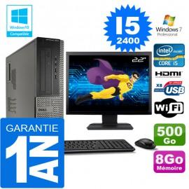 """PC DELL 3010 DT Core I5-2400 Ram 8Go Disque 500 Go Wifi W7 Ecran 22"""""""